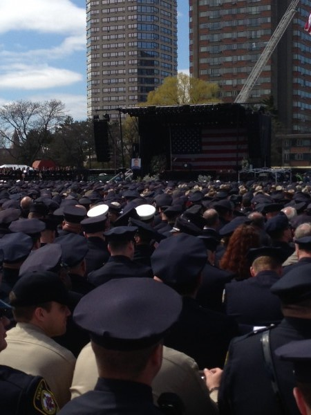 Thousands attend the memorial service at Massachusetts Institute of Technology for MIT police officer Sean Collier. Collier was shot Thursday night during a manhunt for Tamerlan Tsarnaev and Dzhokhar Tsarnaev.