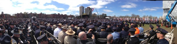 Thousands gather for the memorial service at MIT for Officer Sean Collier.