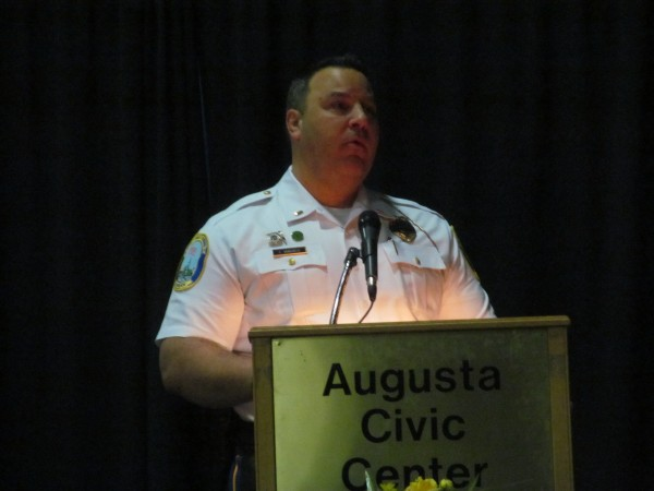 Lt. Christopher Vanghele of the Newtown, Conn., Police Department recounts his experience responding to the Dec. 14, 2012, shooting at Sandy Hook Elementary School to an audience of Maine emergency responders at the Augusta Civic Center.