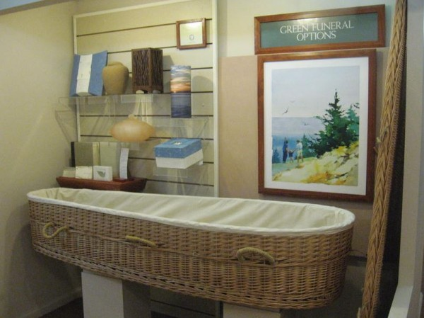 This &quotgreen&quot casket, displayed at Jones-Rich-Hutchins Funeral Home, 199 Woodford St., Portland, is made of willow, a sustainably grown tree that doesn't require fertilizers and replenishes soil nutrients.