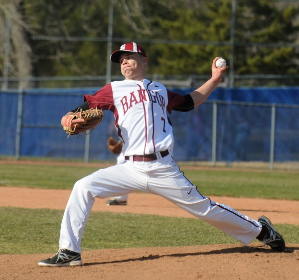 Bangor's Trevor Delaite pitches during the game against Skowhegan in Bangor on Monday.