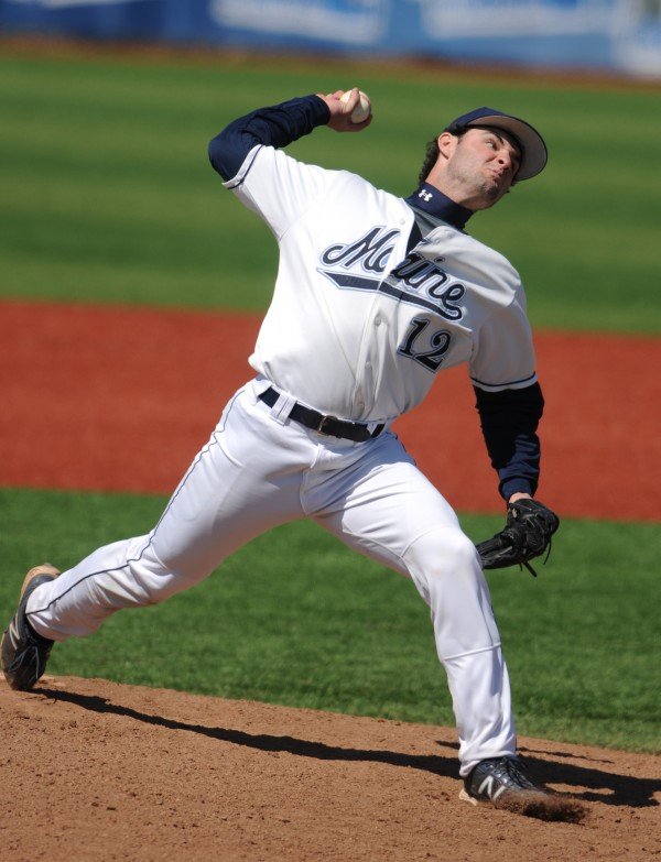 UMaine pitcher Mike Connolly throws a pitch against Stony Brook on Sunday at Orono.