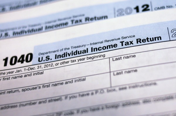 Federal income tax return forms.