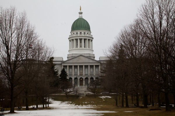 The State House in Augusta, as seen Monday, March 11, 2013. Legislators have voted to resurface the copper dome, which will change the familiar green dome to brown until the copper oxidizes again.