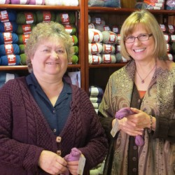 Patti Lewis (left) and Sandy Spiller met each other in Sandy's Glenburn shop.