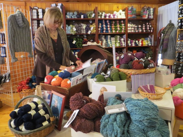 Sandy Spiller's work in her Glenburn yarn shop, Essentially Felt Studio and Fine Yarn, is a true labor of love.