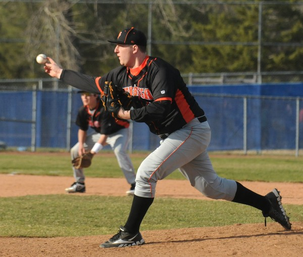 Skowhegan's Taylor Bacon pitches against Bangor in Bangor on Monday.