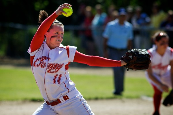 Sonja Morse of Cony of Augusta delivers a pitch against South Portland in the 2012 Class A softball state championship in Standish. Cony won 2-0, and Morse is back as the Rams seek to repeat their accomplishment.