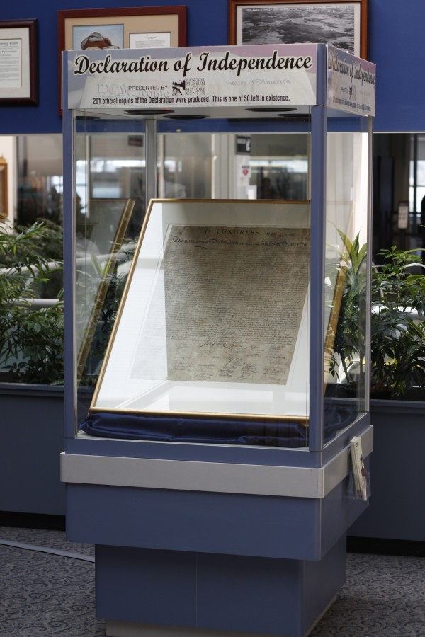 A rare copy of the Declaration of Independence is on display at Bangor International Airport. The William Stone copy is one of 50 known to exist.