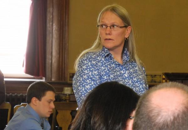 Debra Porter speaks on behalf of her son Daniel Porter during his sentencing in Waldo Superior Court in Belfast on Monday