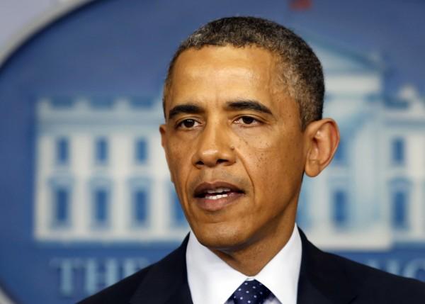 President Barack Obama speaks about the bomb blast at the finish line of the Boston Marathon at the White House in Washington on Monday.