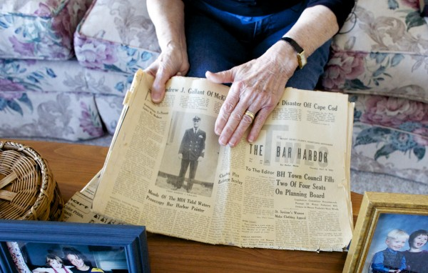 Valerie Buchanan of Bradley shows a newspaper with an article about the death of her brother, the late Andrew Gallant, who was one of the crewmen who died when the USS Thresher nuclear submarine sank in 1963. The 50th anniversary of the April 10 sinking will be commemorated this weekend at Portsmouth Naval Shipyard.