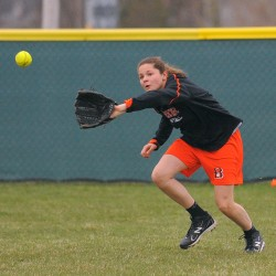 Brewer softball players brighten games with orange sunglasses