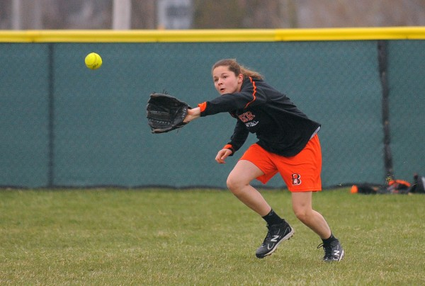 Brewer High School softball player Emily Gilmore during practice in Brewer.