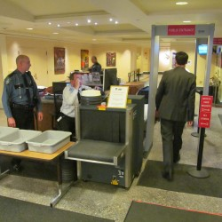 State House security checkpoint, metal detector up and running