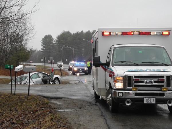 Three people were injured Tuesday afternoon in a two-car collision on U.S. Route 1.