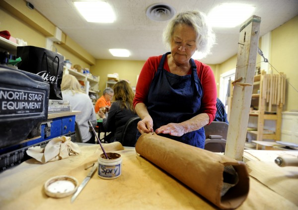 Lynda Flower has always wanted her own totem pole, so she is creating one in a pottery class at the Hammond Street Senior Center.  &quotMy maiden name is Potter,&quot said Flower, &quotso I've always thought I should try pottery.&quot