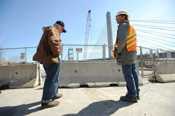 &quotThis bridge, you know, it's been an icon all along,&quot said Alan S. Grover of Monroe as he chats with MDOT engineer Phil Roberts on the Prospect end of the Waldo-Hancock Bridge. Grover recalled a toll booth on the bridge in the 1940s, when he and his family would make a trip to Corea.