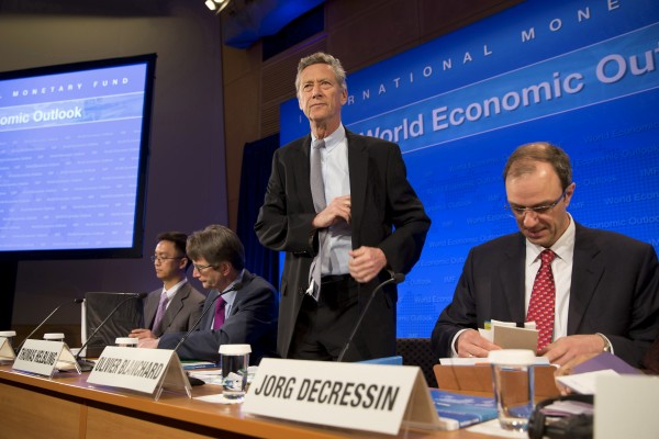 Olivier Blanchard, economic counsellor and director of the International Monetary Fund's research department, prepares to take his seat at a press conference on the World Economic Outlook at the IMF Headquarters in Washington, April 16, 2013.