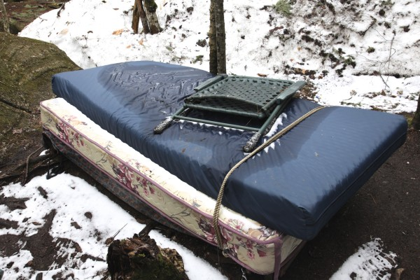 A bed still remains at Christopher Knight's camp, known locally as the North Pond Hermit.