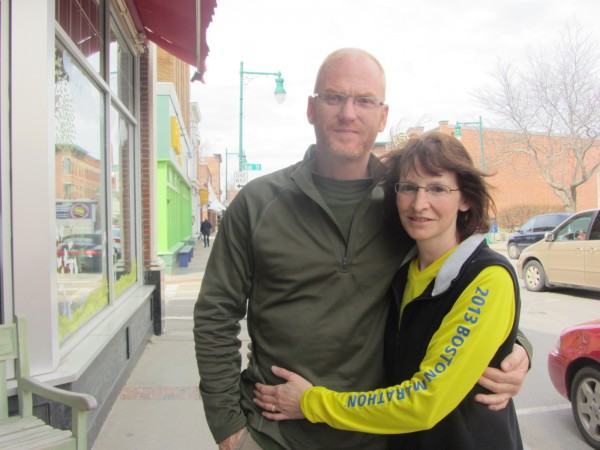 Theresa Withee of Hope (right) and her husband, Charles Weidman, recounted their experience at the Boston Marathon during an interview in Rockland on Tuesday.