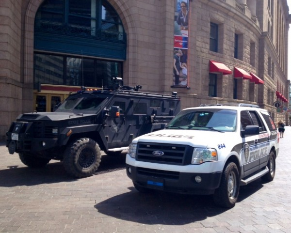 Police were on high alert outside South Station in downtown Boston on Tuesday.