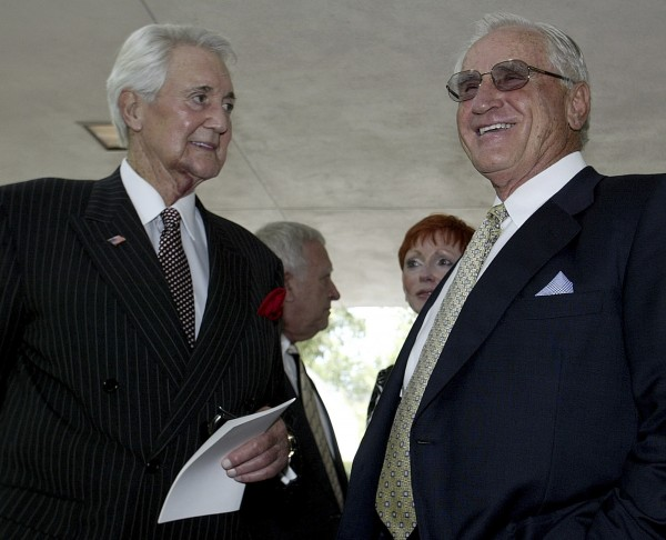 National Football League broadcaster Pat Summerall (left) and coach Don Shula pause outside the memorial service for former Cowboys general manager Tex Schramm in Dallas,Texas, in this file photo taken July 18, 2003.