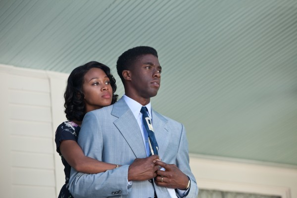 Nicole Beharie, left, as Rachel Robinson and Chadwick Boseman (right) as Jackie Robinson are seen in Warner Bros. Pictures and Legendary Pictures drama &quot42,&quot a Warner Bros. Pictures release.