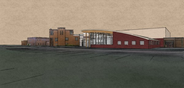 The architect drawing of the new Northern Maine Community College wellness center shows how the area's aviation history was incorporated into the plans. The building's roof line was designed to resemble and aircraft wing and the center will provide space for local aviation artifacts.