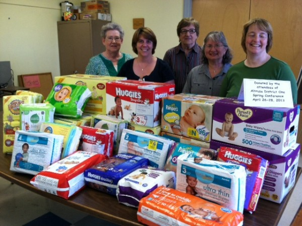 Altrusa International Bangor Club deliver 1265 diapers to Good Samaritan Agency after their District One Conference Diaper Drive.