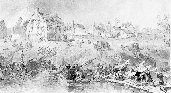 As combat engineers complete a bridge across the Rappahannock River (right), Union infantrymen cross the river in pontoon boats and go ashore to attack Confederate soldiers defending Fredericksburg, Va. in mid-December 1862. In late April 1863, soldiers from the 5th Maine Infantry crossed the river in such boats to help recapture Fredericksburg during the Chancellorsville campaign.