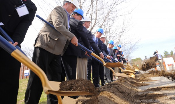 Dignitaries do the ceremonial ground breaking for the new Emera Astronomy Center at the University of Maine in Orono Monday.