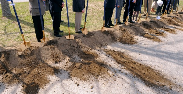 Dignitaries at the ceremonial ground breaking for the new Emera Astronomy Center at the University of Maine in Orono Monday.
