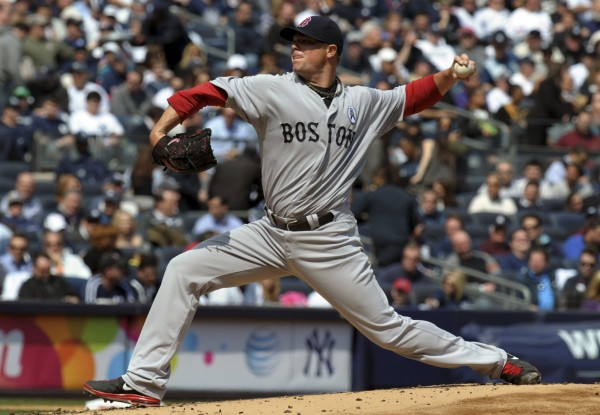 Boston Red Sox's starting pitcher Jon Lester throws in the second inning against the New York Yankees in their MLB American League opening day baseball game at Yankee Stadium in New York, April 1, 2013.