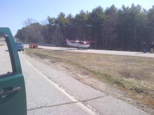 This small plane made an emergency landing on the Maine Turnpike after running out of fuel Friday morning.