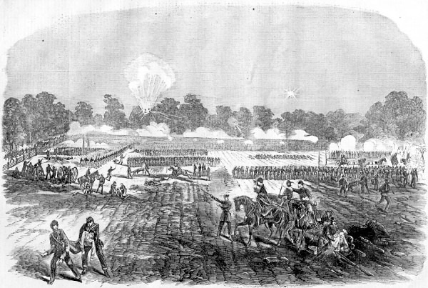 William Hall, a Dexter soldier in the 22nd Maine Infantry Regiment, drew this lithograph of the April 14, 1863 Battle of Irish Bend, fought near Franklin, La. Also involved in the battle was the new 26th Maine Infantry, which suffered 68 casualties. A war of words broke out in a Bangor newspaper as Maine soldiers wrote home about the battle.