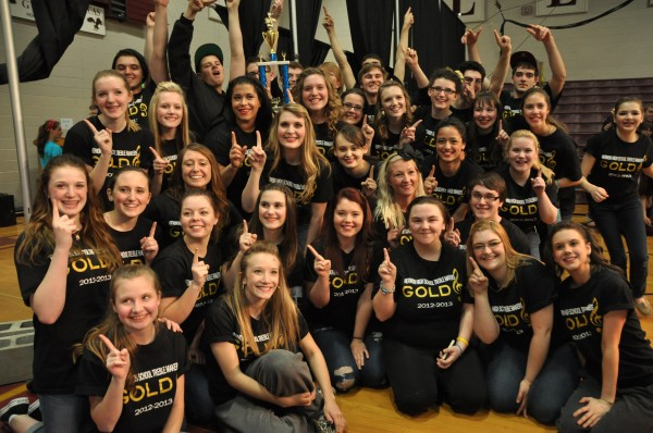 Hermon High School Treble Makers celebrate winning first place in state show choir competition. (Hermon Arts Boosters Photo)