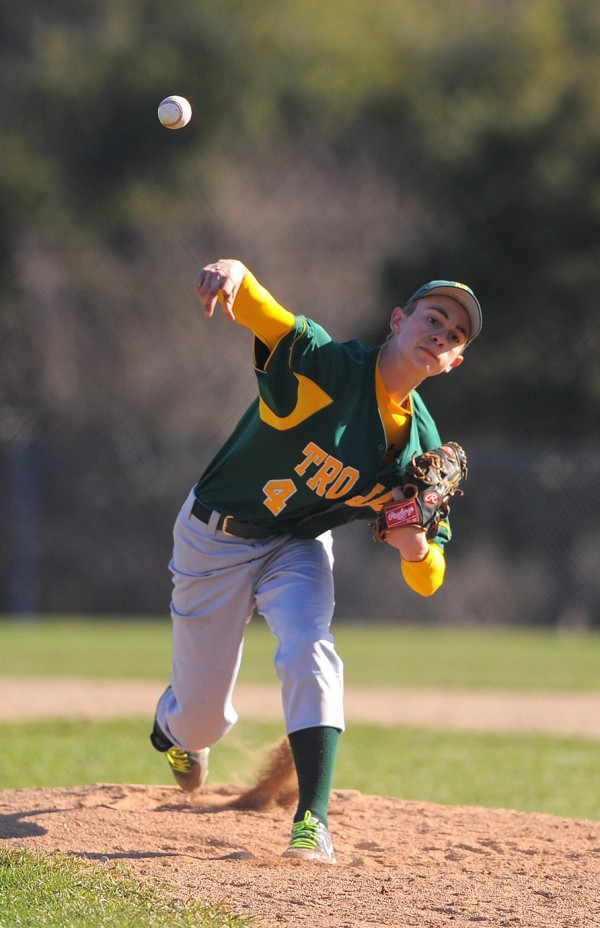 MDI's Tom Paola pitches during the game against Ellsworth in Ellsworth Tuesday.