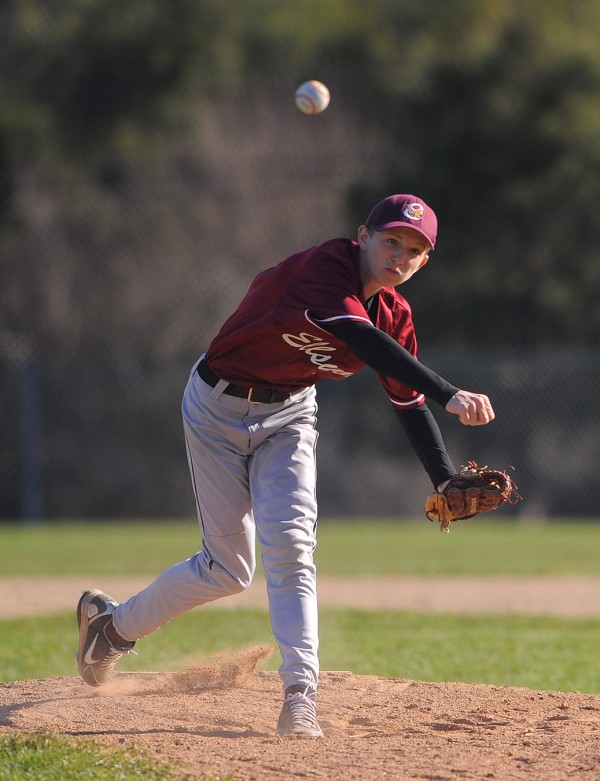 Ellsworth's Conor Maguire pitches during the game against MDI in Ellsworth Tuesday.