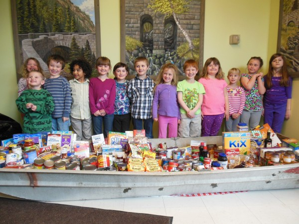 Trenton Elementary School collected a boat load of food.