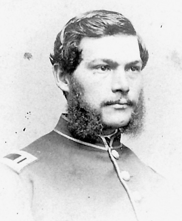 George Waters Bicknell of Foxcroft joined the 5th Maine Infantry Regiment as a private and earned promotion to first lieutenant and an appointment as the regimental adjutant by spring 1863. During the Battle of Chancellorsville, he was headed in the head by a shell shard and spent three months recuperating before rejoining the regiment later that year.