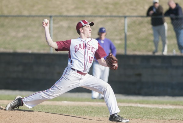 Bangor's Justin Courtney ptiches against Hampden on Friday, April 26, 2013.