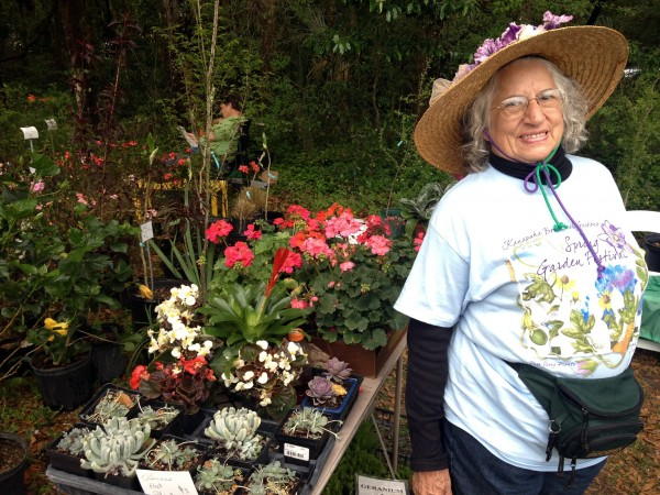Emily Notestein selling plants at a spring garden festival soon after she had surgery for breast cancer.