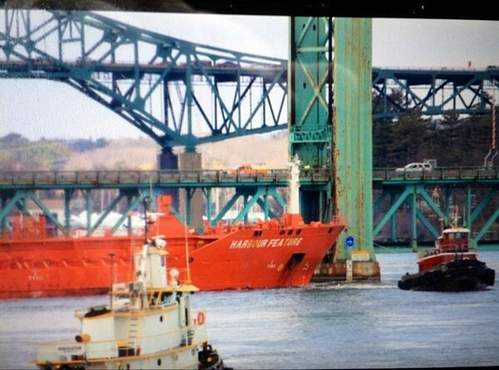 The MV Harbour Feature has hit the Sarah Mildred Long Bridge, and the bridge will be closed two to four weeks, officials said.