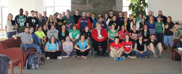 People at Husson University sport Boston-wear Friday, April 19, in support of those affected by the Boston Marathon tragedy.