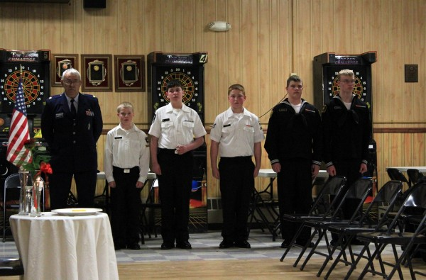 Maj. Robert Demchak, USAF (Ret) CO of NCB39 Battalion U.S. Naval Sea Cadet Corps and the Cadets who performed the setting of the POW/MIA Table.
