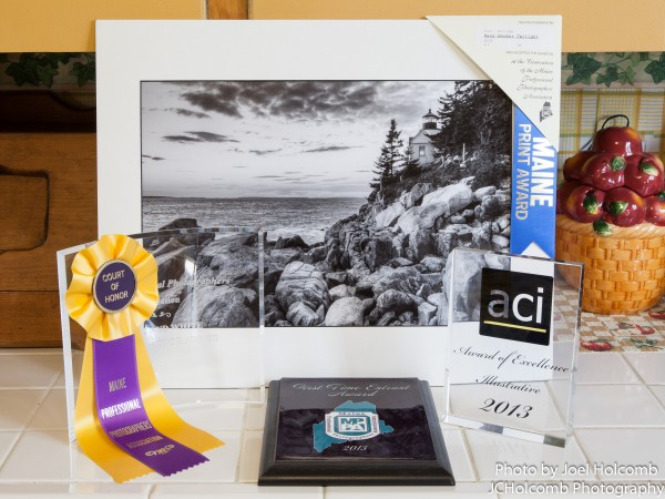 Awards won by photographer Joel Holcomb at the 2013 Maine Professional Photographers Association convention.