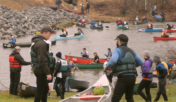 People wait for their turn to start during the 2013 Kenduskeag Stream Canoe Race.