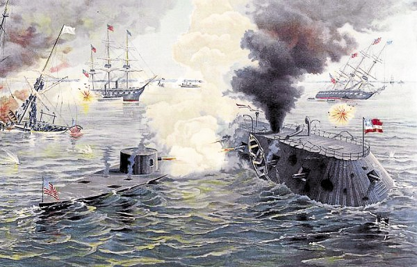 "A colorful lithograph depicts the March 9, 1862, battle between the USS Monitor (left) and the CSS Virginia. Both warships were the first ""ironclads"" built by both sides in the Civil War and tested in combat. William Bryan, the great-great-great uncle of Holden resident Andy Bryan, served aboard the Monitor."