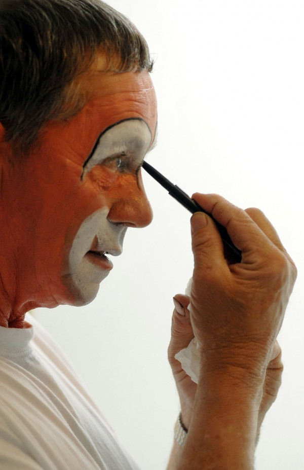 Don Young begins the transformation into Bo-Bo in his camper outside of the Bangor Auditorium before the opening show of the 2013 Anah Shrine Circus. Don has been an Anah Shrine Clown since 1986.